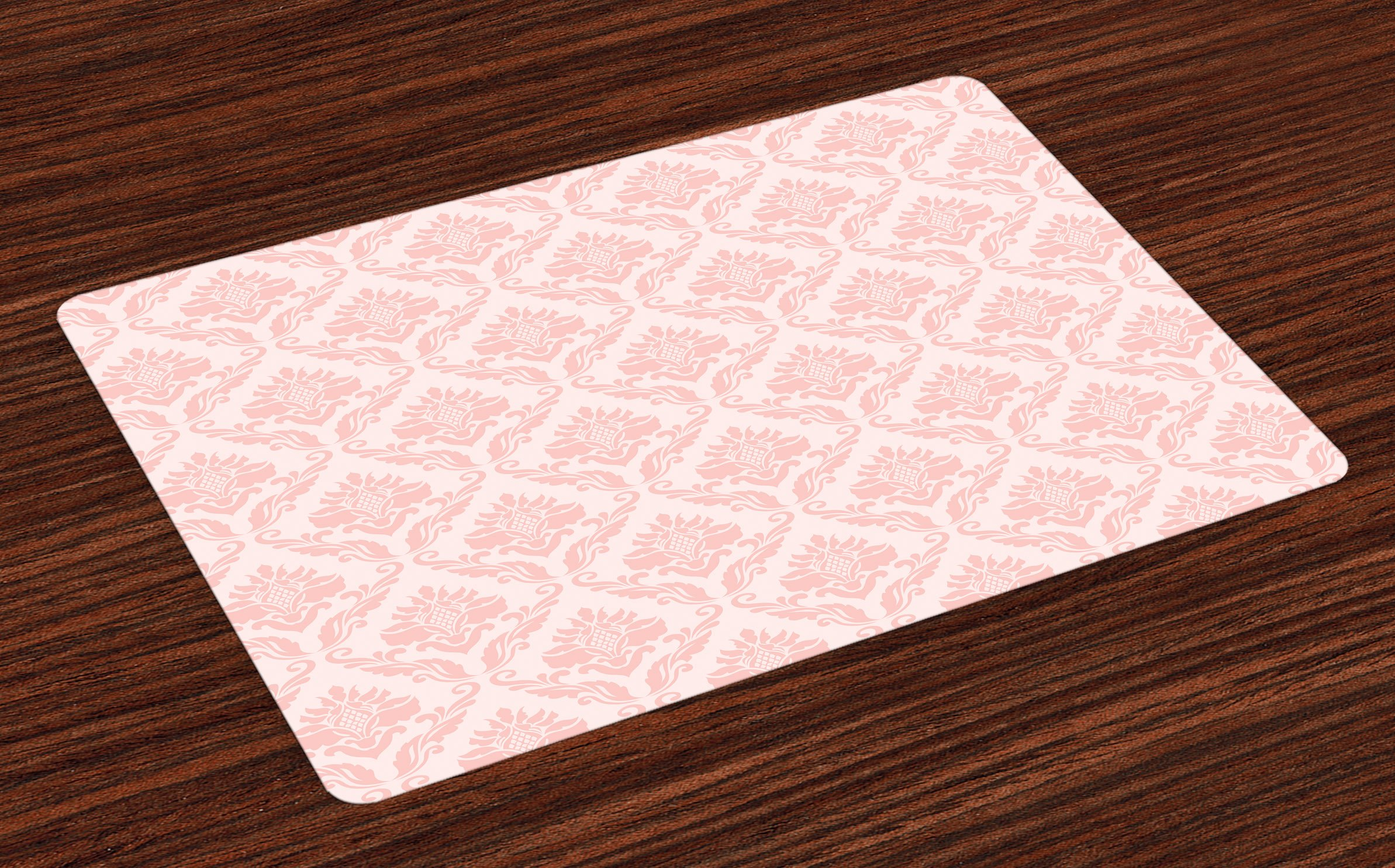 Lunarable Blush Place Mats Set of 4, Damask Motif Retro Design of Floral Pattern with Swirling Petals and Branches, Washable Fabric Placemats for Dining Room Kitchen Table Decoration, White Pale Pink