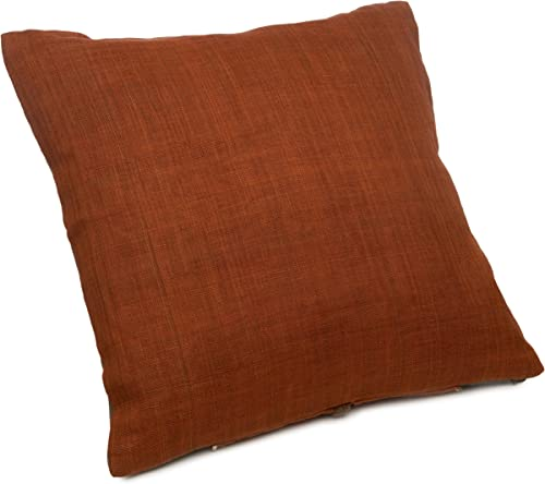 Natori Block Print 16-Inch Square Straw Pillow
