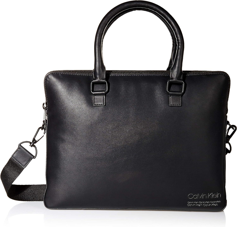Calvin Klein Men's Debossed Logo Attache, black, One Size