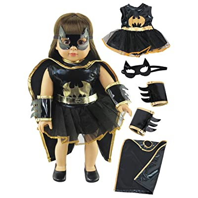American Fashion World Little Batgirl Costume Made for 18-inch Dolls fits 18-inch American Dolls and More: Toys & Games