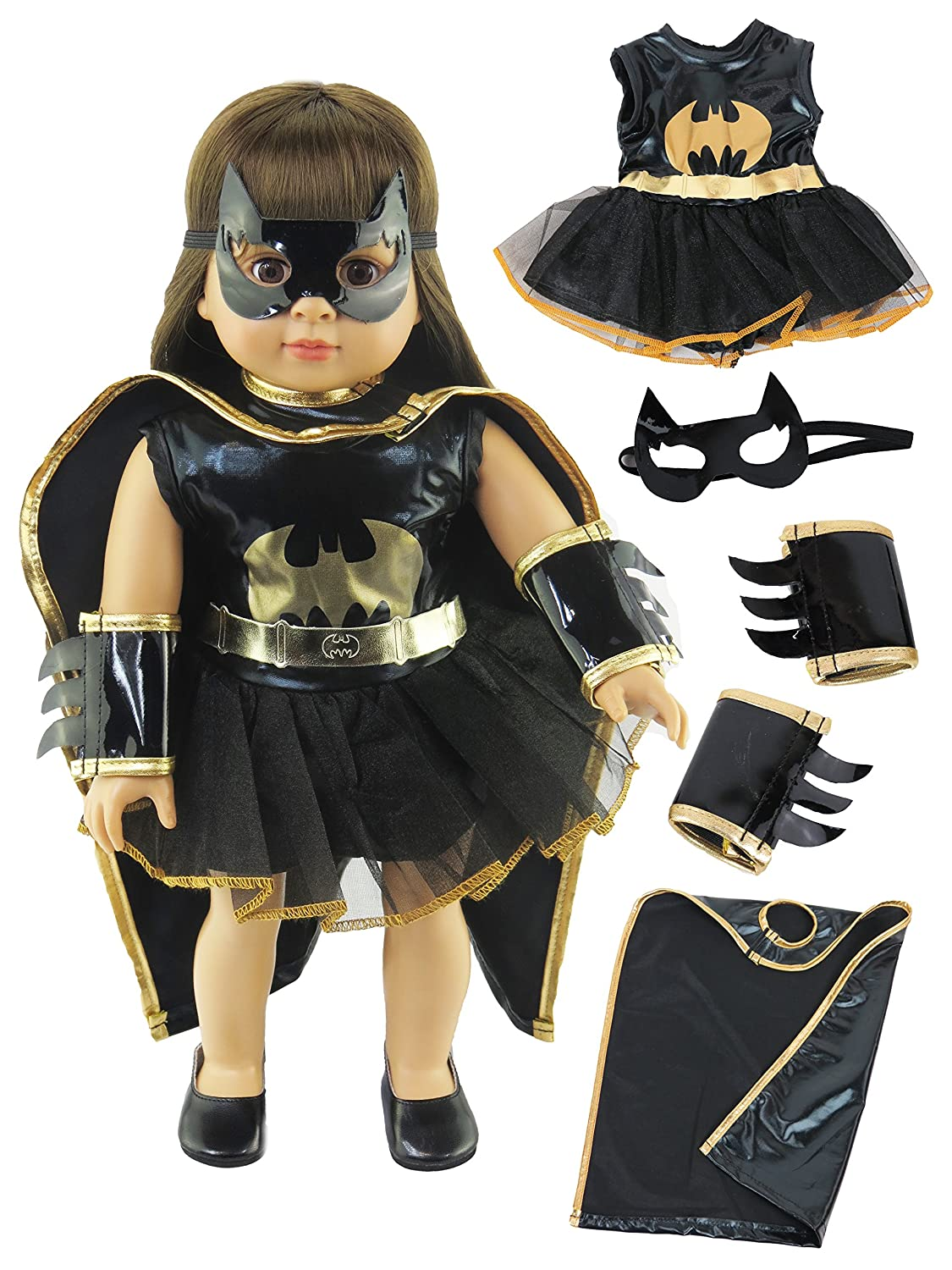 Little Batgirl Costume | Fits 18 American Girl Dolls, Madame Alexander, Our Generation, etc. | 18 Inch Doll Clothes American Fashion World