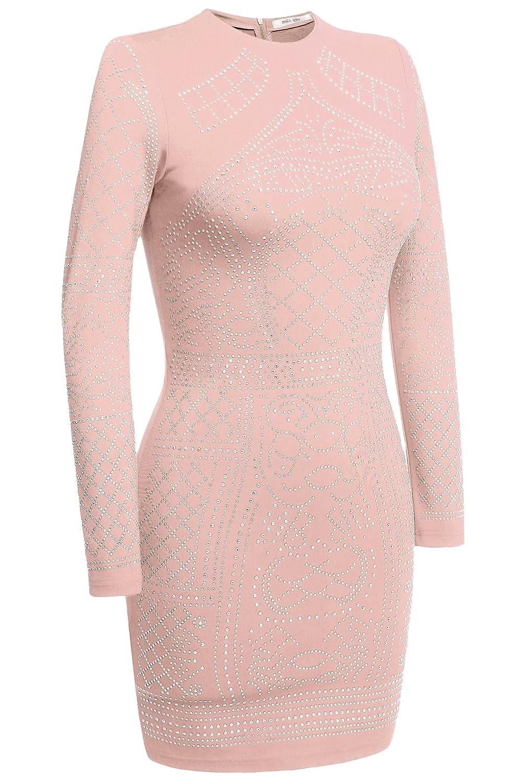Meaneor Womens Long Sleeve Rhinestone Embellished Vintage Cocktail Dresses