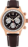 Stuhrling Original Men's 669.04 Analog Monaco Quartz Chronograph Date 16K Rose Gold Plated Brown Genuine Leather Strap Watch