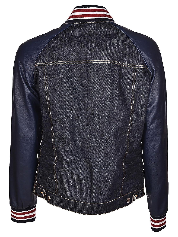 a basso prezzo fda42 d41d8 DSQUARED2 Denim Leather Sleeve Bomber Jacket Blu Uomo ...