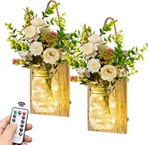 Rustic Wall Sconces Decorative Mason Jar Sconces Wall Décor Hanging Design with Remote Control for Farmhouse Home Christmas Decorations Ideal for Christmas Gift, Home Decoration, Kitchen, Living Room Set of 2