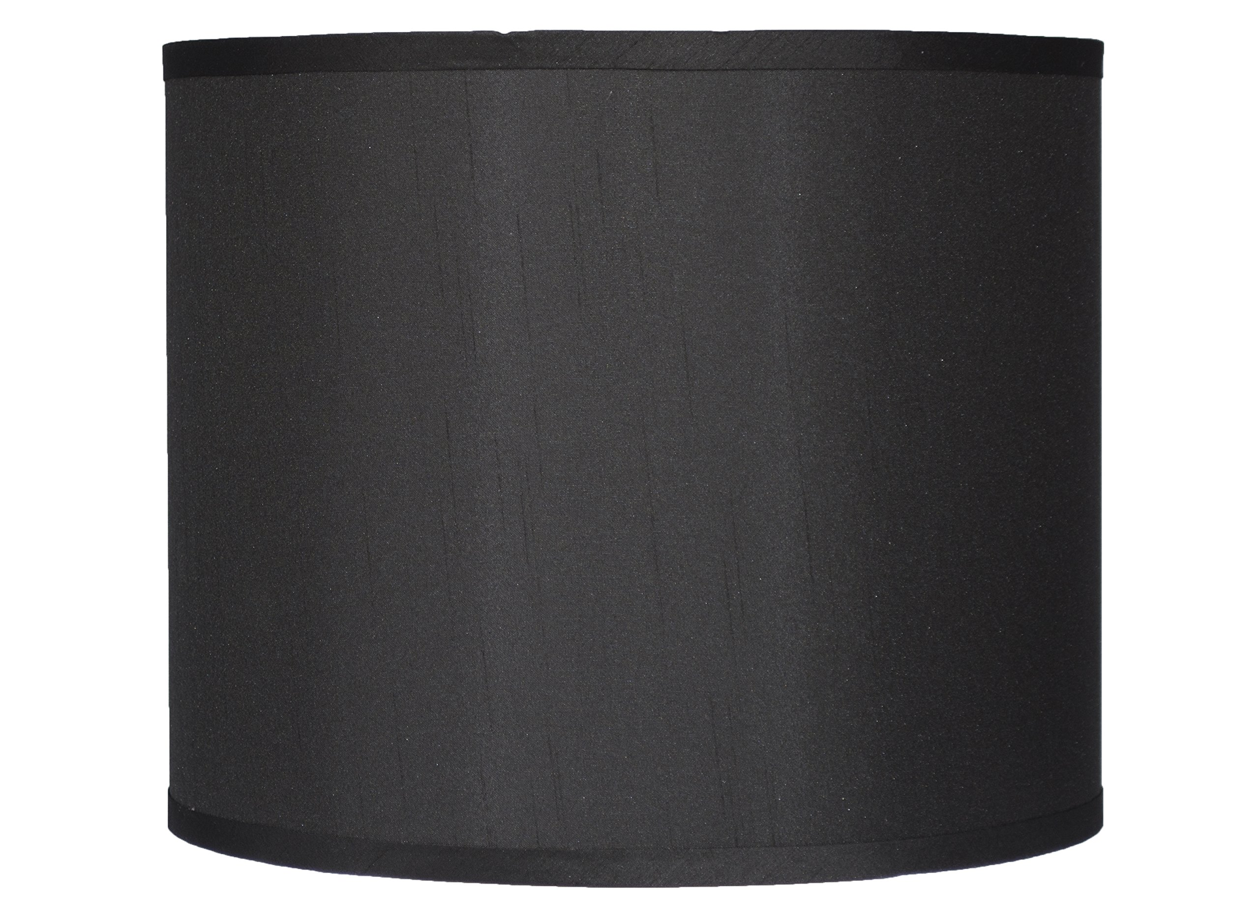 Urbanest Faux Silk Drum Lampshade, 12-inch By 12-inch By 10-inch, Black, Spider Fitter