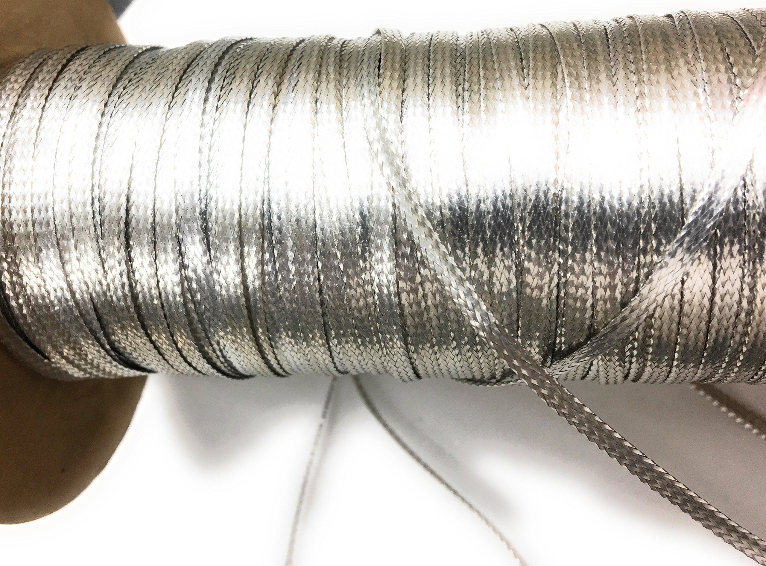 Silver Metallic Flat Braid Cord 288 Yards 1/8'' Wide by Shela Design