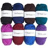 TYH Supplies 8 Skeins Bonbons Yarn Assorted Colors 32g (70yd) the yarn it is 100% Acrylic (Dark)