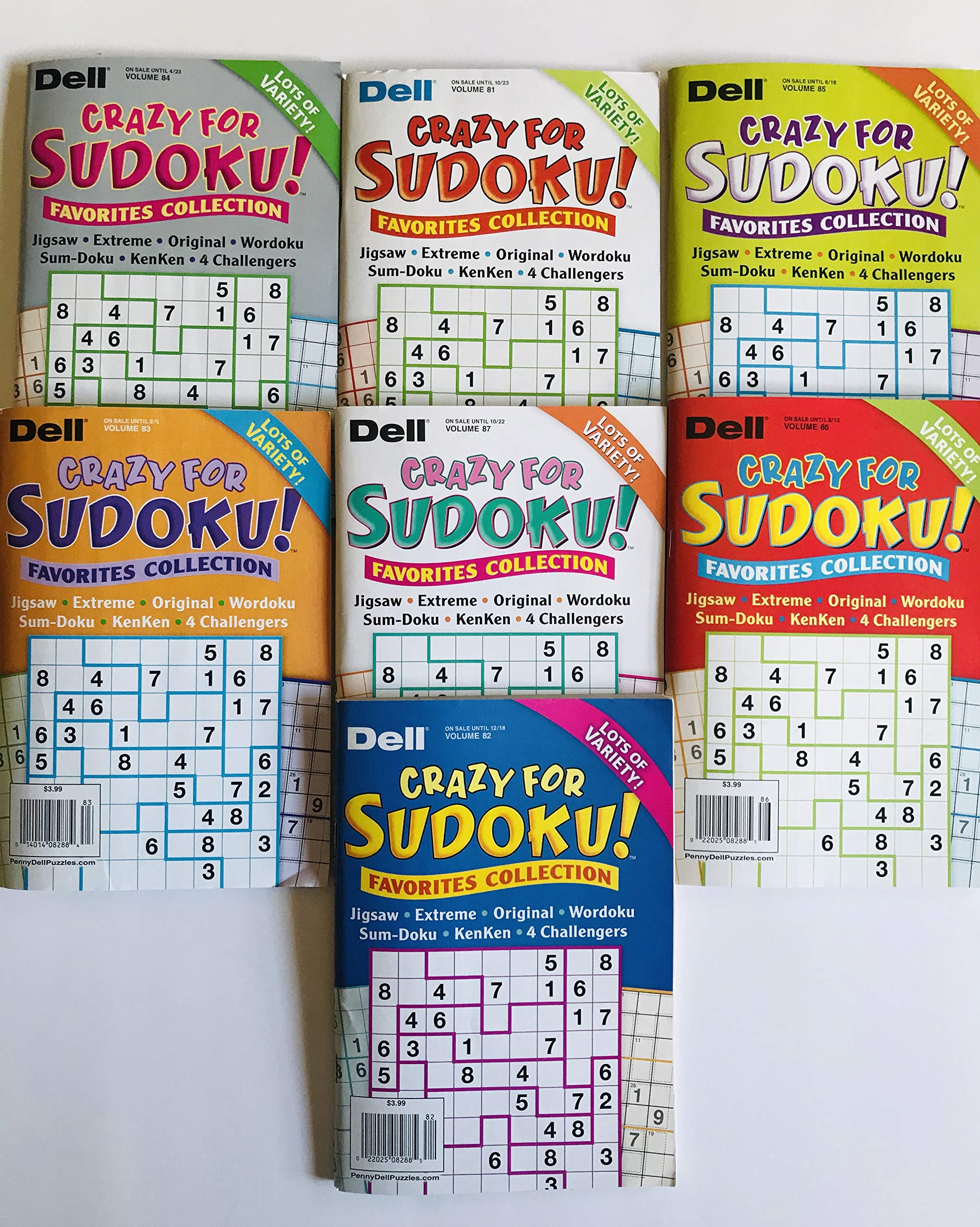 Lot of 7 CRAZY FOR SUDOKU FAVORITES COLLECTION from the Dell Penny Press Puzzles Volume number 81, 82, 83, 84, 85, 86 and 87 by Penny Dell