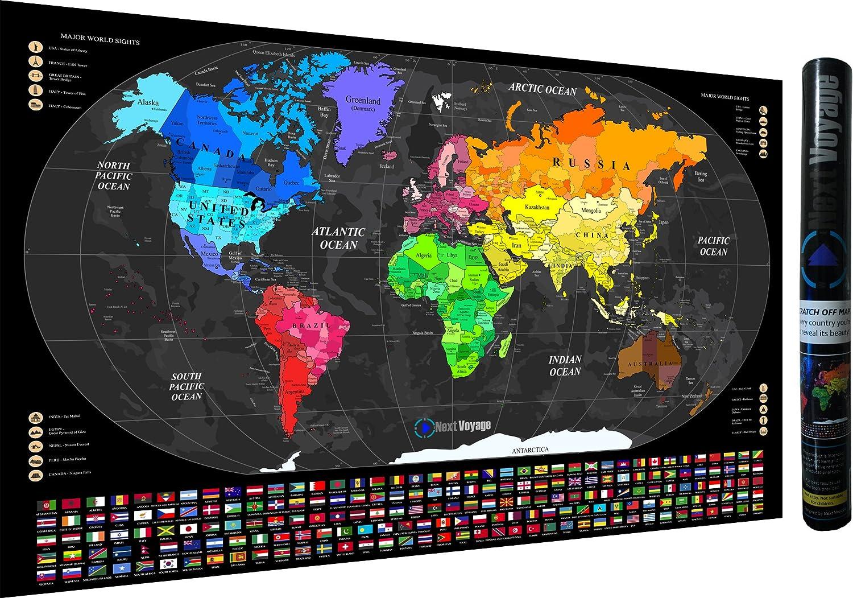 Scratch off Mapa del mundo Póster (33,5 x 23 pulgadas), Slick nuevo diseño, detallada cartografía, Países, Islas, banderas y populares Iconic lugares: Amazon.es: Oficina y papelería