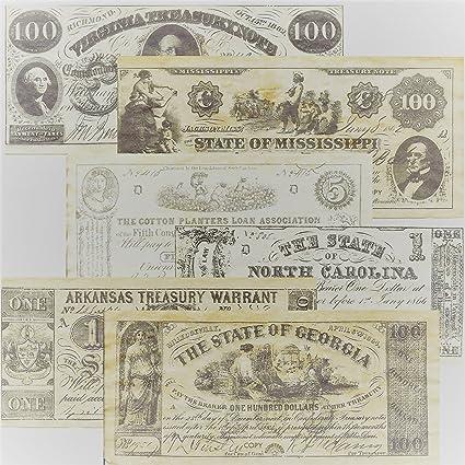 Replica Confederate Currency Set A, B, C, & D