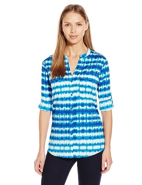 132adccca Calvin Klein Women's Printed Crew Neck Roll Sleeve, Soft White/Adriatic,  Medium: Amazon.ca: Clothing & Accessories