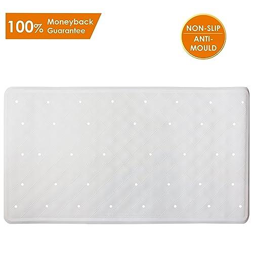 Bath Mat Non-Slip Anti Mould Rubber Shower Mat 40 x 70 cm / 15.8 x 27.7 inches - White