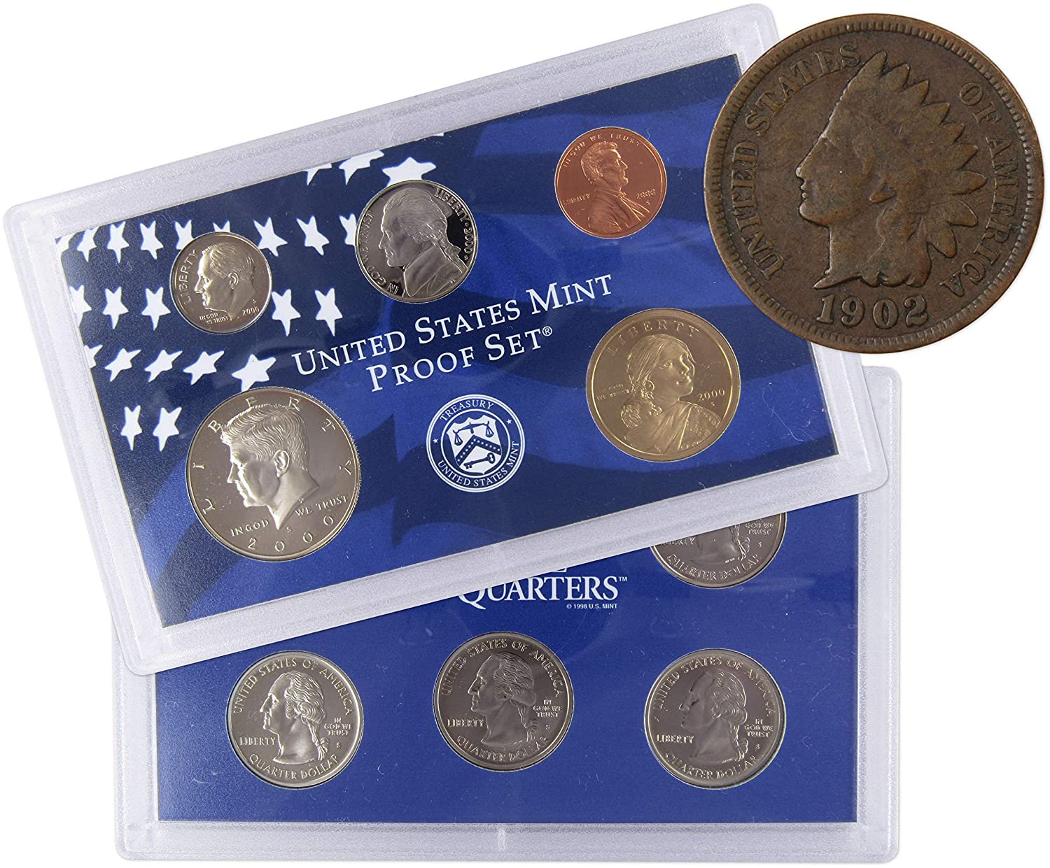 1972 S U.S Mint Proof Set with 1902 1c Indian Head Cent G Good Coin Lot