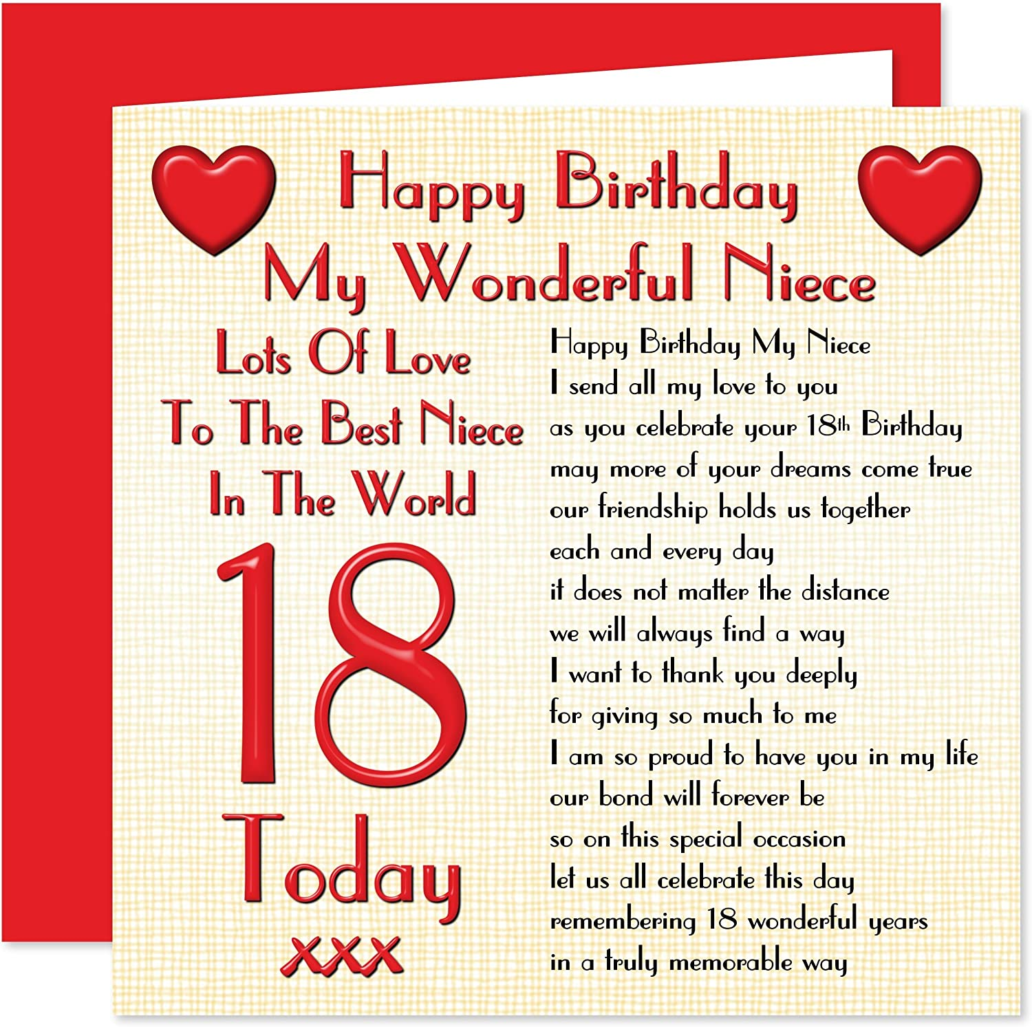 Excellent My Niece 18Th Happy Birthday Card Lots Of Love To The Best Niece Funny Birthday Cards Online Alyptdamsfinfo