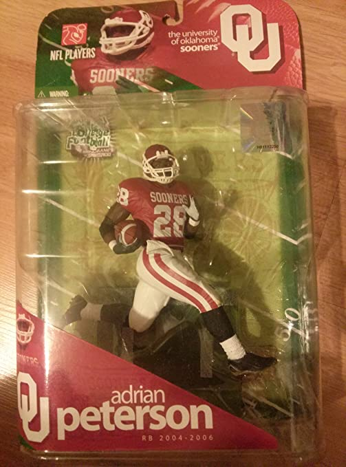 timeless design c35cd 57a8b McFarlane Toys NCAA COLLEGE Football Sports Picks Series 1 Action Figure  Adrian Peterson (Oklahoma Sooners) Red Jersey