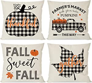 PANDICORN Farmhouse Fall Pillow Covers 18x18 Set of 4 for Fall Decorations, Black Buffalo Plaid Check Pumpkin Leaves Truck, Fall Thanksgiving Décor Throw Pillows for Home Couch Outdoor