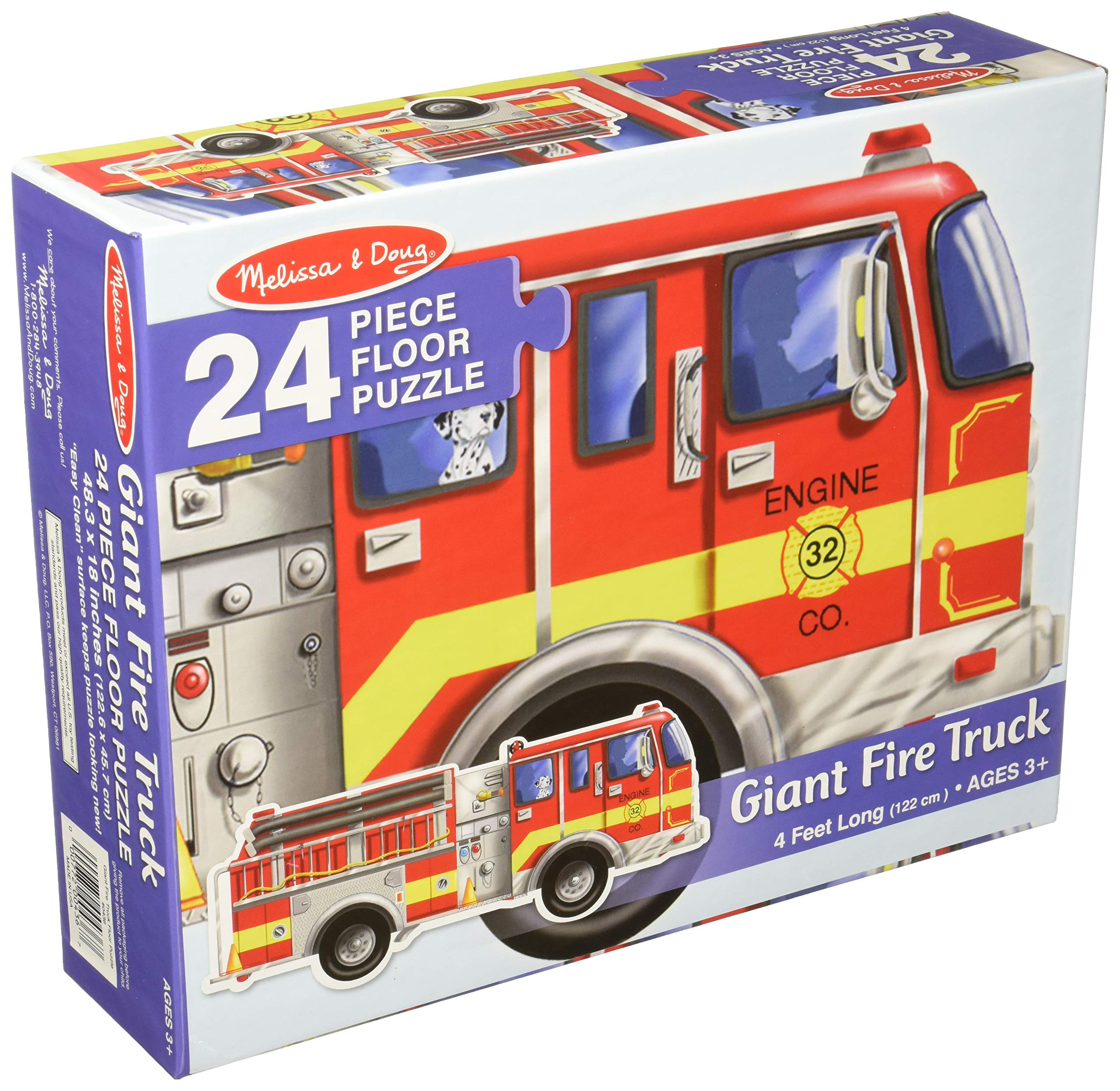 Melissa & Doug Fire Truck Jumbo Jigsaw Floor Puzzle (24 pcs, 4 feet long)