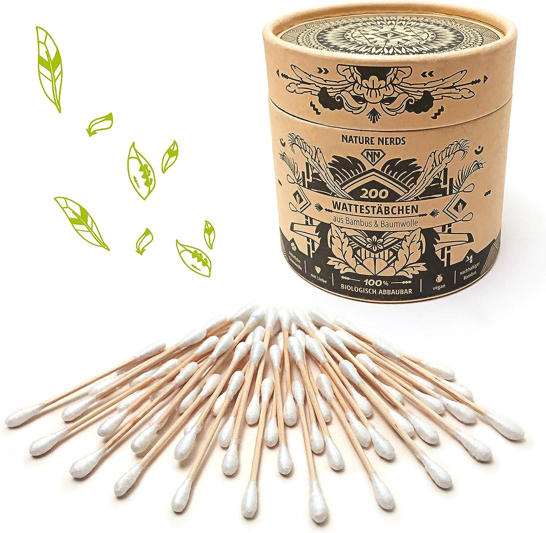 Nature Nerds: hisopos de algodón (200 piezas) hechos de bambú y algodón, sin plástico y sostenibles