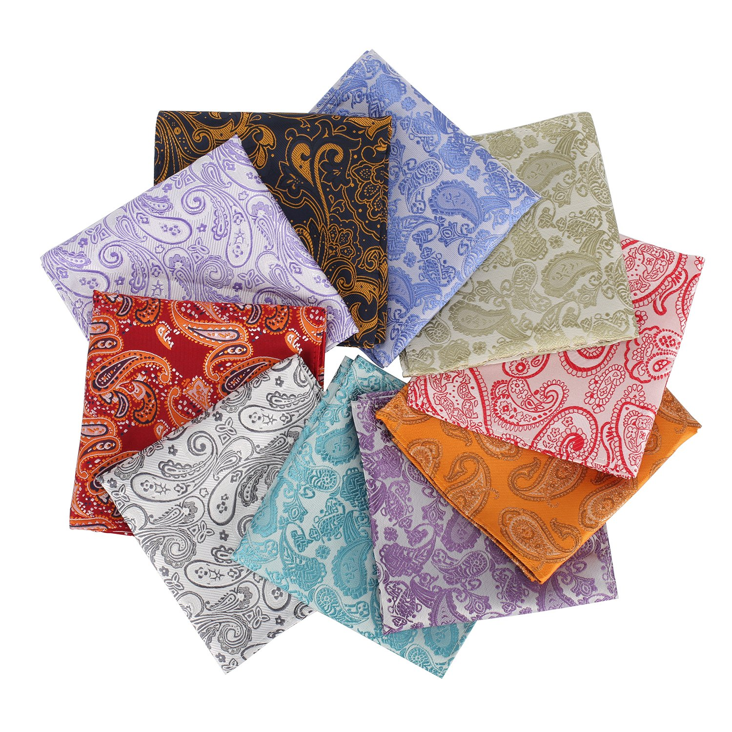 Mens 10 Pack Assorted Pocket Square Handkerchief Hanky (D5)