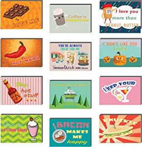 Creanoso Comedic Food and Drinks Funny Postcards (60-Pack) – Cool and Unique Gift Card Greeting Tokens for Adults Men Women Professionals – Assorted Bulk Collection Set – Cool Card Giveaways