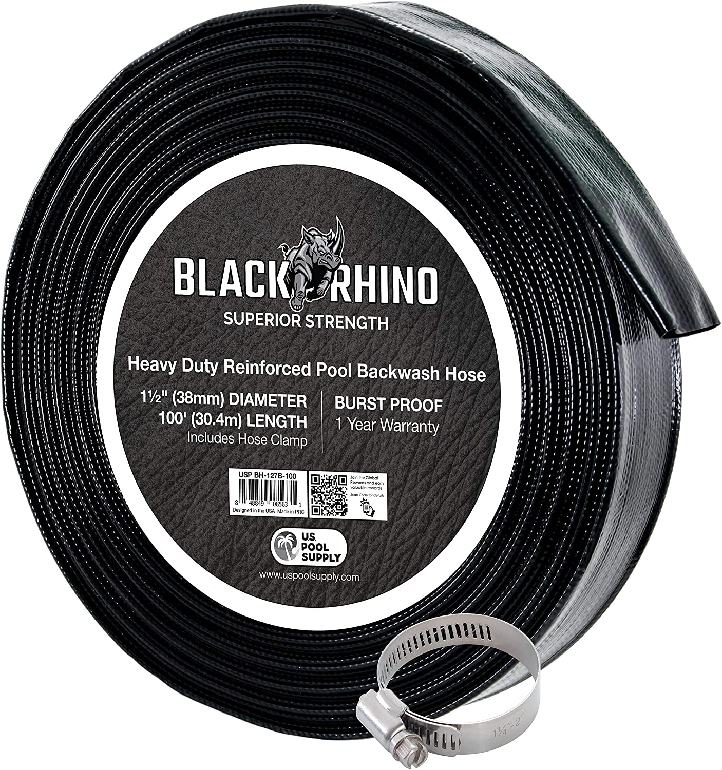 Pool Supply Black Rhino 1-1//2 x 100 Pool Backwash Hose with Hose Clamp Drain Clean Swimming Pools U.S Filters - Weather Burst Resistant Thick 1.2mm 47mils Extra Heavy Duty Superior Strength