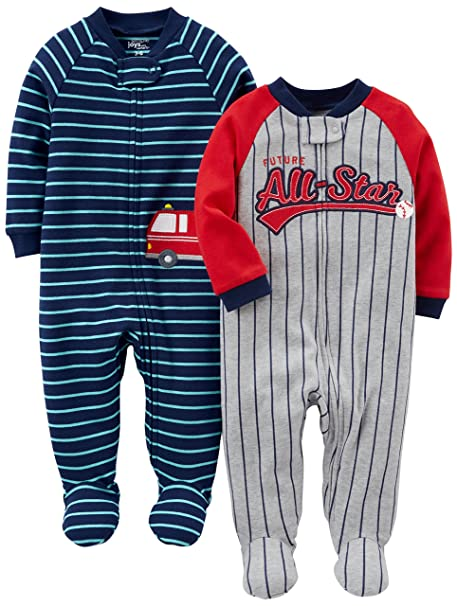 00d8af44feacb Simple Joys by Carter's Baby Boys' 2-Pack Cotton Footed Sleep and Play