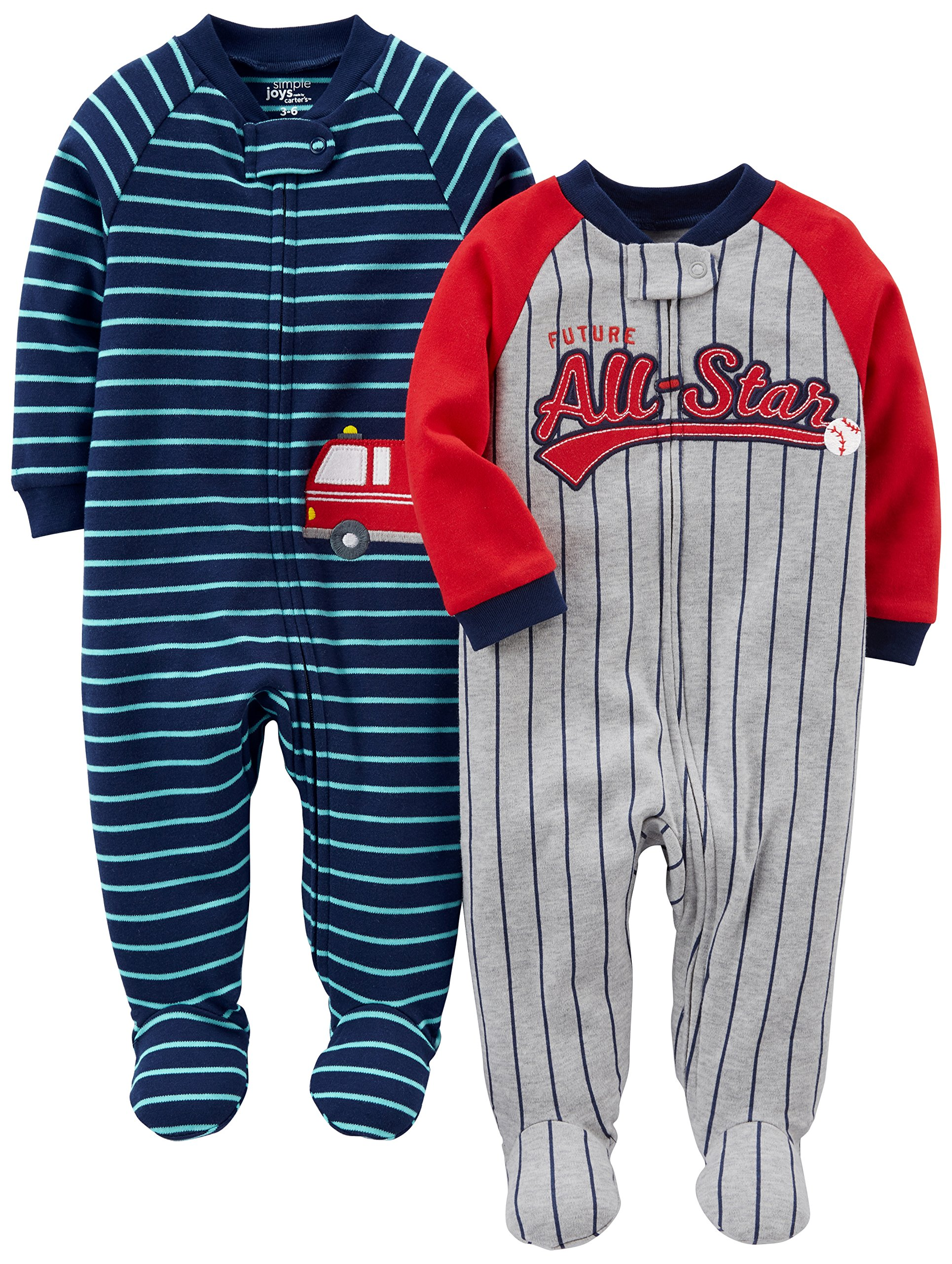 Simple Joys by Carter's Baby Boys' 2-Pack Cotton Footed Sleep and Play, All Star/Fire Truck, 3-6 Months