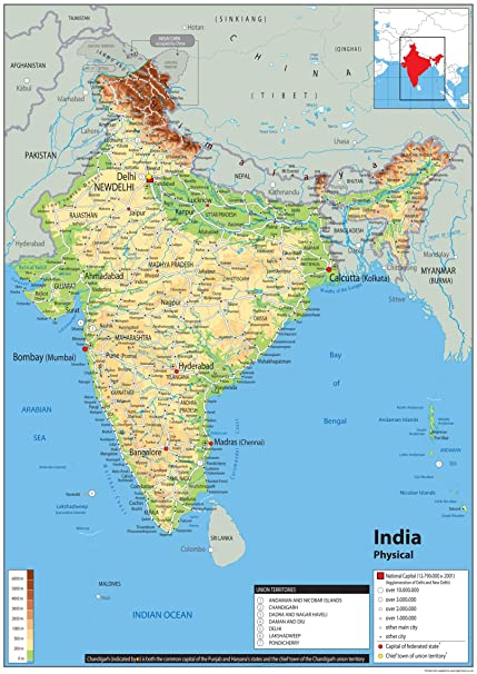 Cartina India Fisica.India Mappa Fisica Carta Plastificata Ga A0 Size 84 1 X
