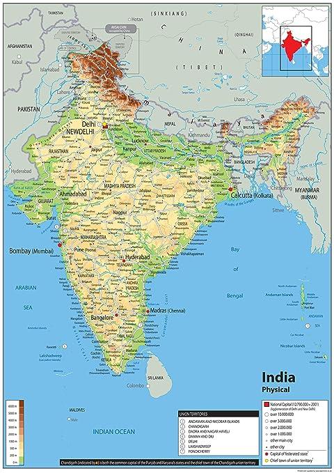 Cartina Dell India Del Nord.India Mappa Fisica Carta Plastificata Ga A2 Size 42 X 59 4 Cm