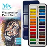 MozArt Supplies Watercolor Paint Set - 24 vibrant colors - Lightweight and portable - Perfect for budding hobbyists and artists - Paintbrush included
