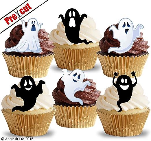 Lustige Geister Vorgeschnittenes Essbares Reispapier Kuchen Und Cupcake Verzierung Halloween Party Dekoration Amazon De Kuche Haushalt