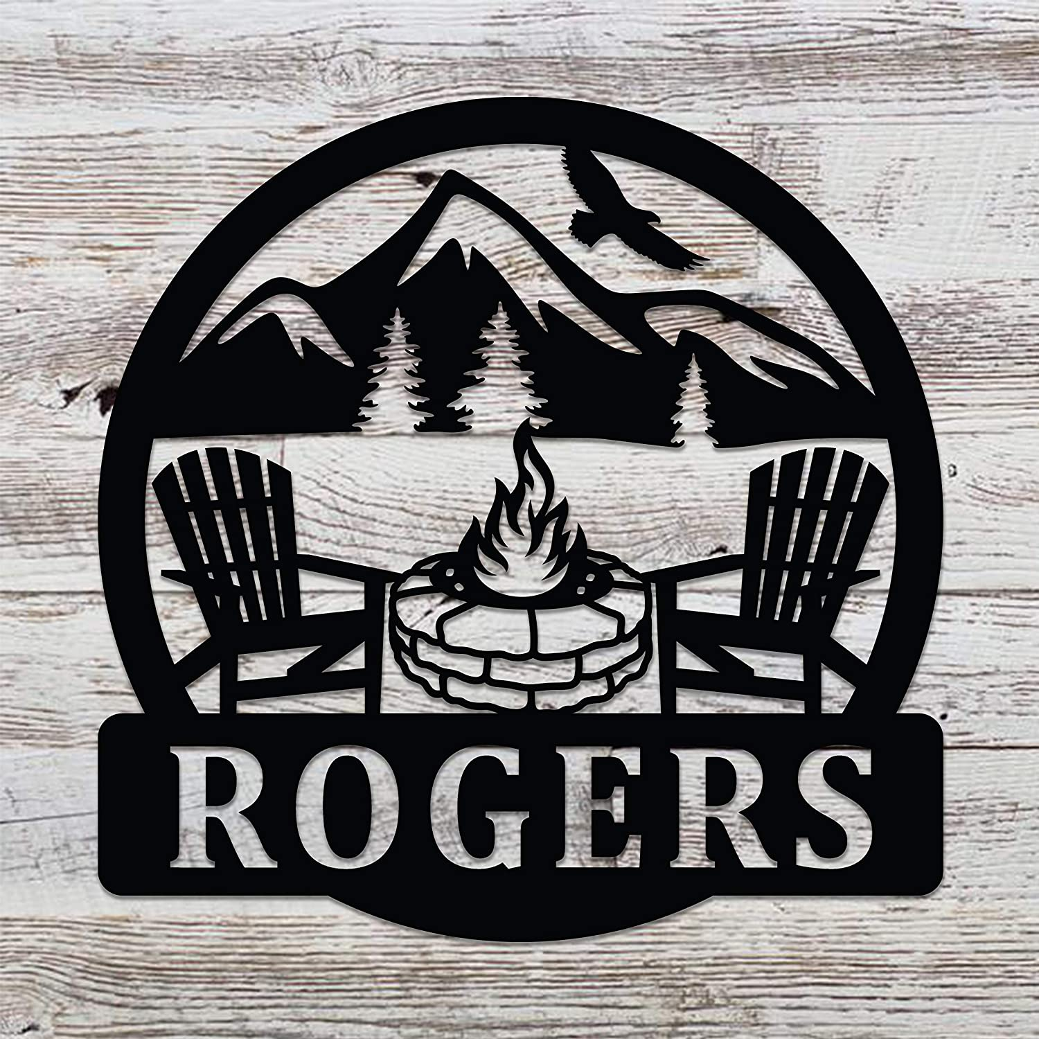 Personalized Campfire Family Name Sign Metal Wall Decor Monogram ...