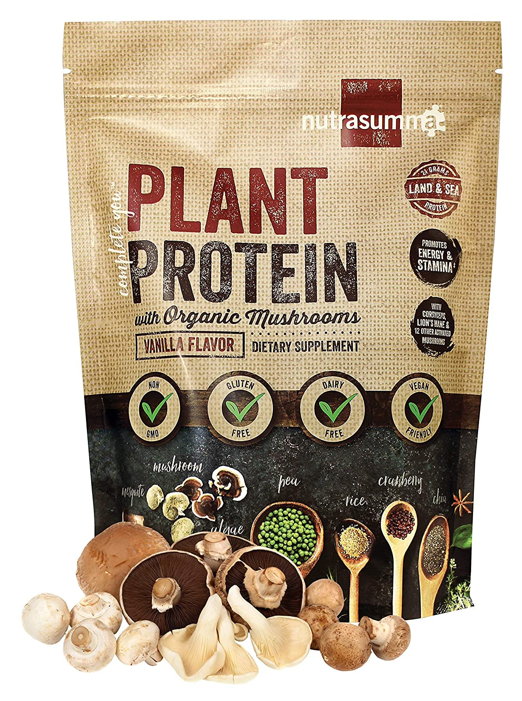 Nutrasumma Plant Protein with Organic Mushrooms, Vanilla, 1.19 lbs