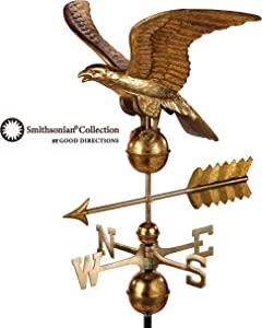 Good Directions Smithsonian Eagle Weathervane - Pure Copper with Golden Leaf Finish (23 inch), Rooftop Ornament, Wind Vane, Roof Décor