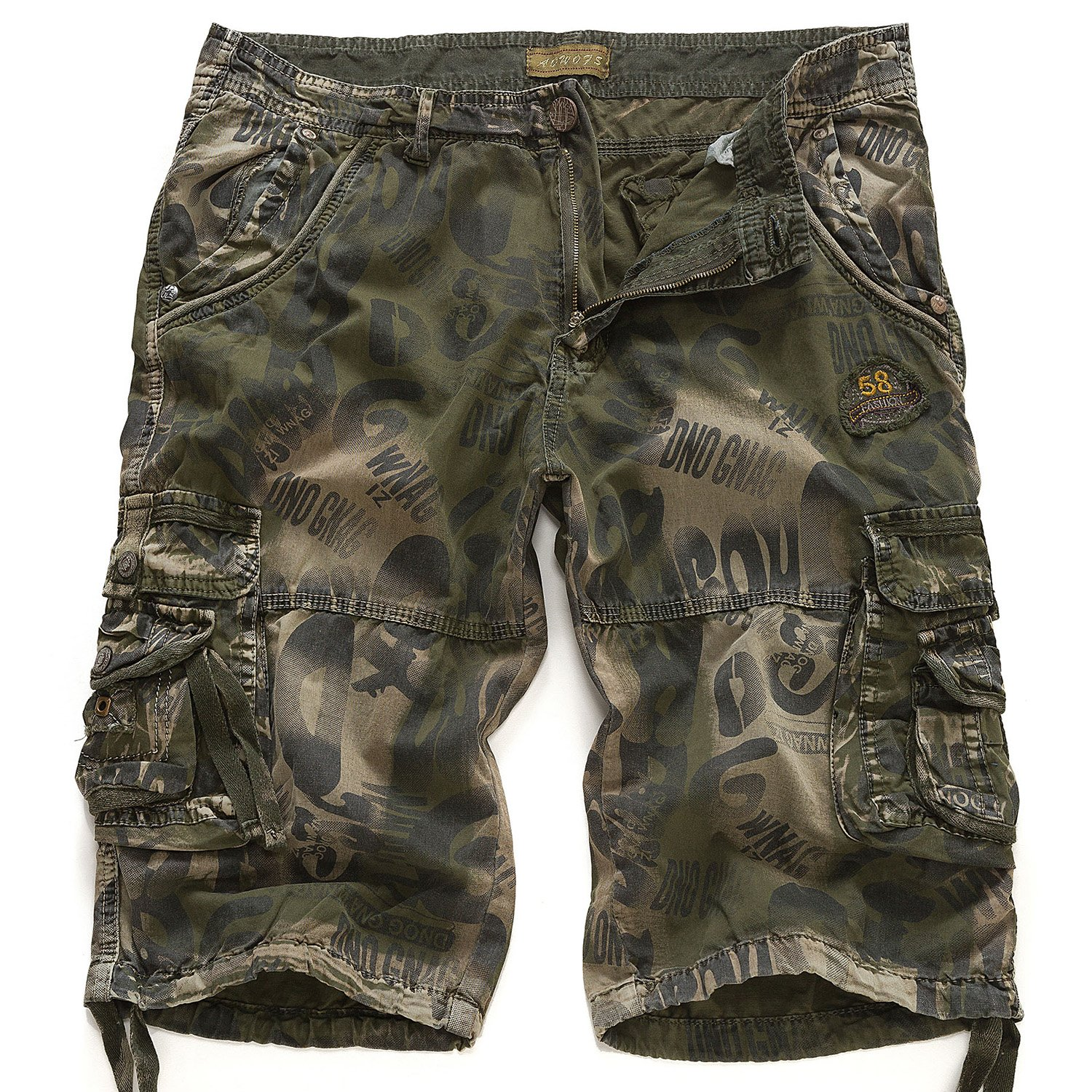 EAGLIDE Men's Twill Loose Fit Athletic Camouflage Cotton Pockets Cargo Shorts