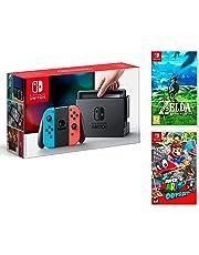 Nintendo Switch Konsole 32Gb Neon Rot/Neon-Blau + Super Mario Odyssey + Zelda: Breath of the wild - MEGAPACK