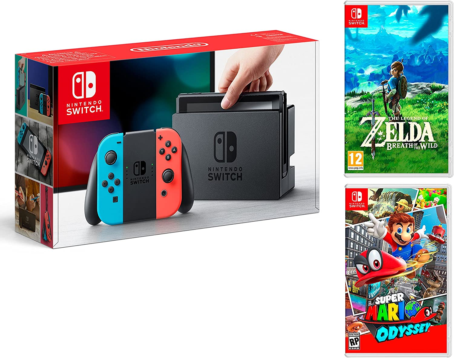 Nintendo Switch Consola 32Gb Azul/Rojo Neón + Super Mario Odyssey + Zelda: Breath of The Wild - MEGAPACK: Amazon.es: Videojuegos