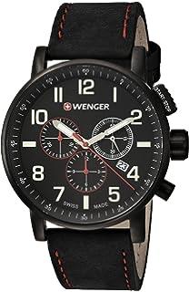 Wenger Men s  Attitude Chrono  Swiss Quartz Stainless Steel and Leather ... b434237b8ba