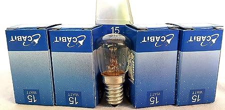 5 bombillas 15 W E14 Normas CE para lámparas de sal, nevera, etc ...