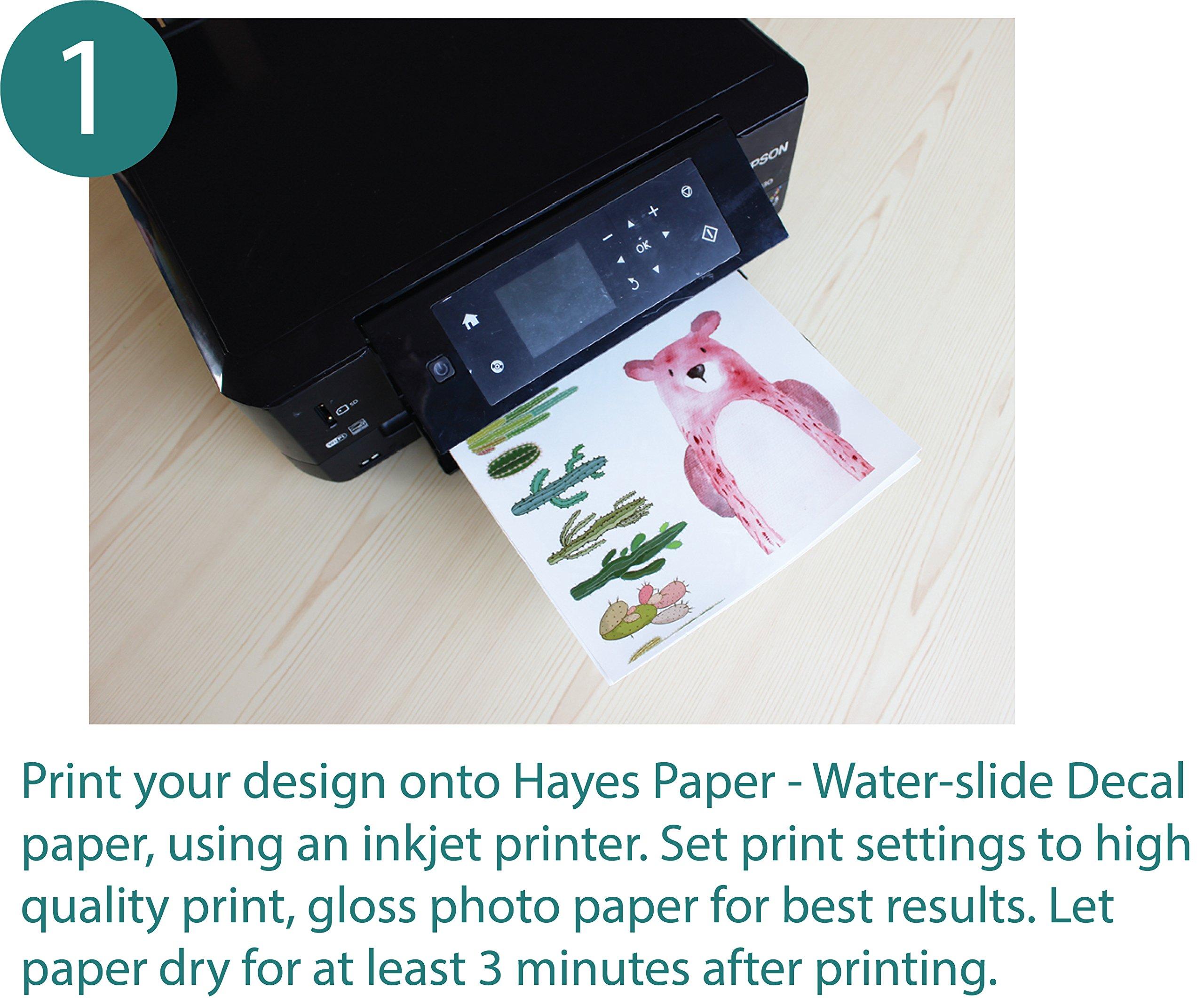 Hayes Paper Waterslide Decal Paper INKJET CLEAR 20 Sheets Premium Water-Slide T