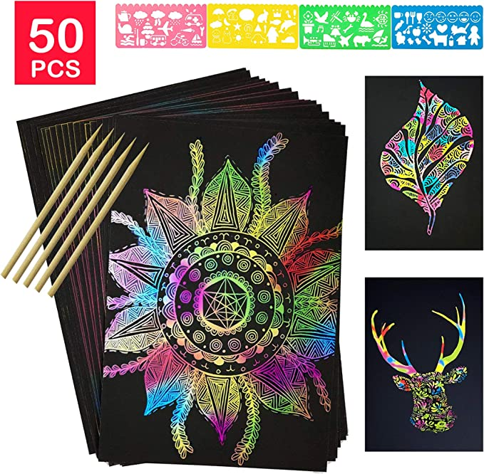 Xinzistar 50 Sheets Scratch Art Paper Kit for Kids with Black /& Multicoloured