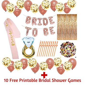 228 rose gold bridal shower decorations and gamesbachelorette gifts bride to be banner