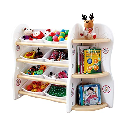Gupamiga Toy Storage Organizer For Kids Collection Rack Of Children Deluxe  Plastic Bookshelf And Basket Frame