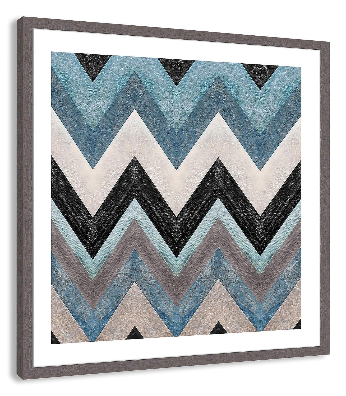 Grey Woodgrain Texture Frame 31 x 31 Casa Fine Arts Blue Wood Zig Zag Modern Geometric Abstract Wall Art Archival Print