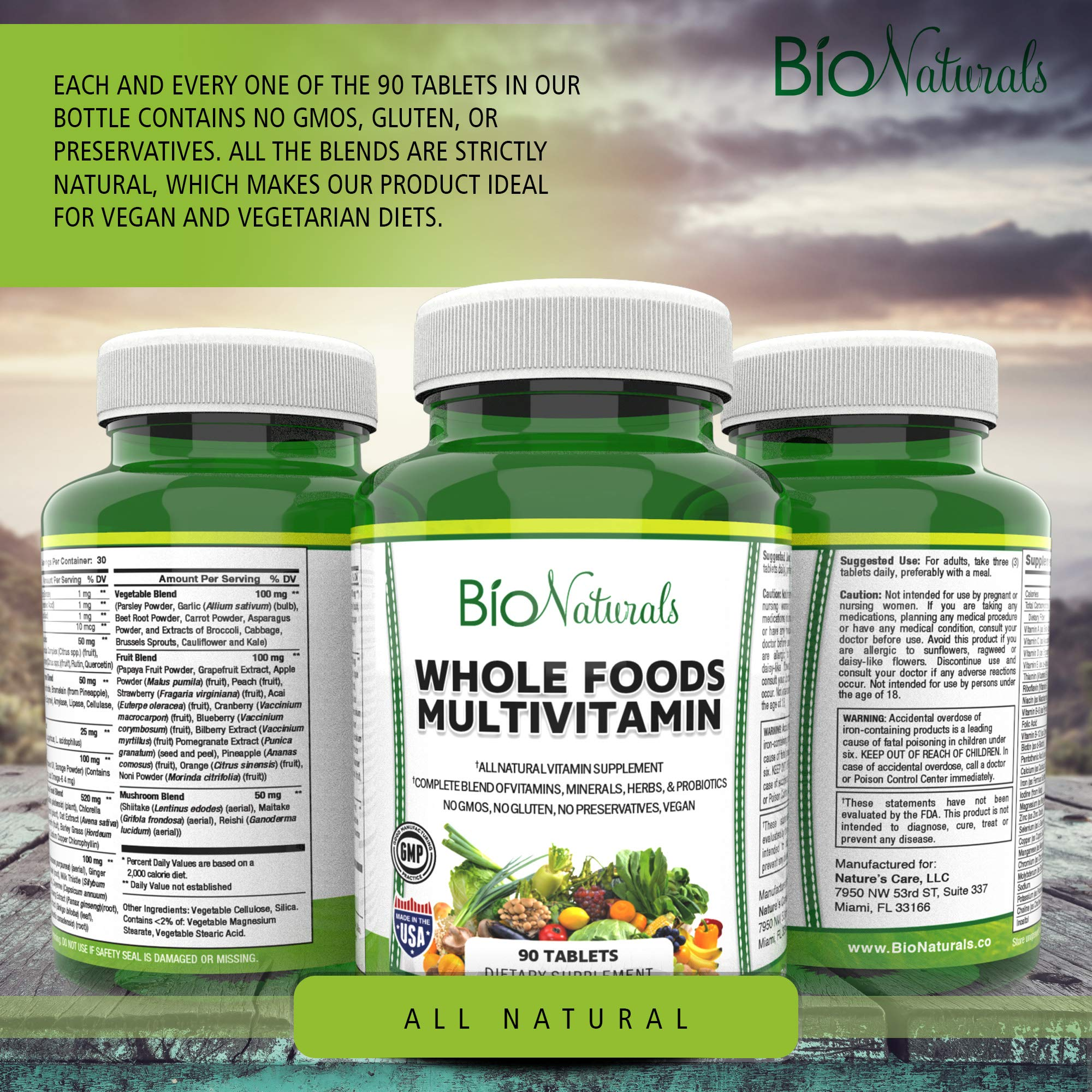 Bio Naturals Whole Foods Multivitamin For Men & Women with 100+ Nutrients - Vitamins A B C D E, Minerals, Herbs, Omega 3, Probiotics, Organic Extracts - No GMOs, No Gluten, 100% Vegan - 90 Count
