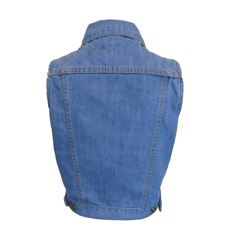 Womens Cropped Denim Gilet Ladies Denim Blue Sleeveless Waistcoat Vest Jacket