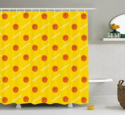 Ambesonne Basketball Shower Curtain Athletics League Theme Balls On Yellow Backdrop Goal Fun Game Match
