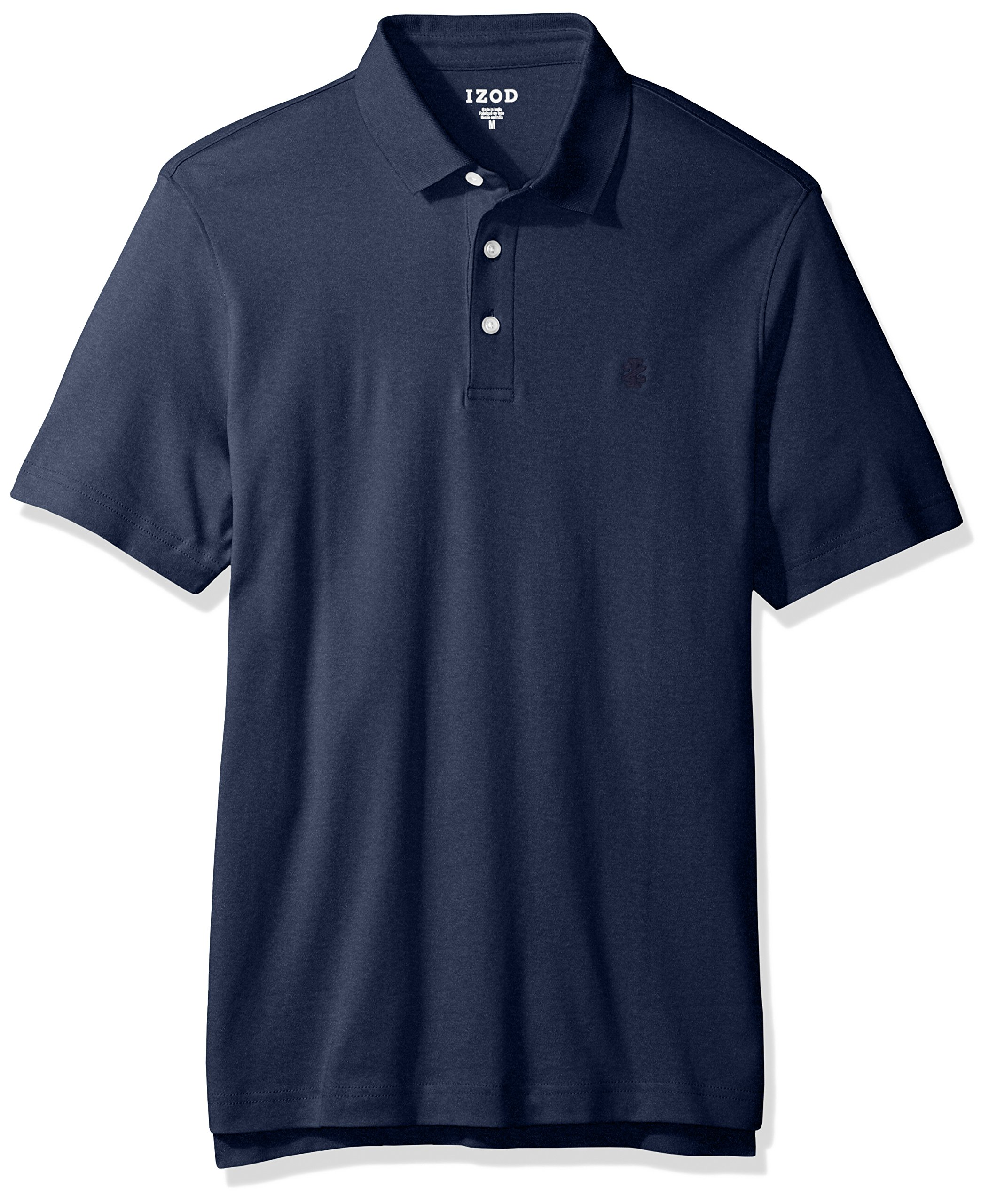 IZOD Men's Solid Interlock Polo Shirt, Peacoat Heather, X-Large by IZOD (Image #1)