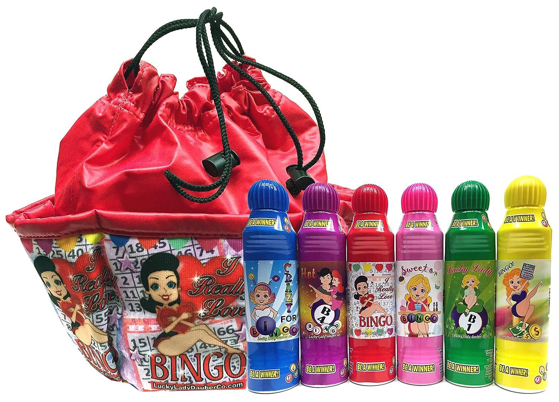 Lucky Lady Bingo Daubers 6-Pack with I Really Love Bingo Bag! Lucky Lady Dauber Co.